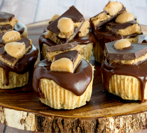 Buckeye Cheesecakes with Buckeye Bark